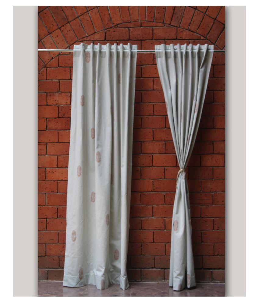 Zeba Single Door Loop Cotton Curtains Light Green