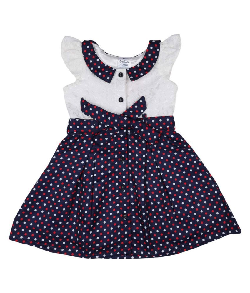 Doodle Navy Color Cap Sleeve Dress for Girls