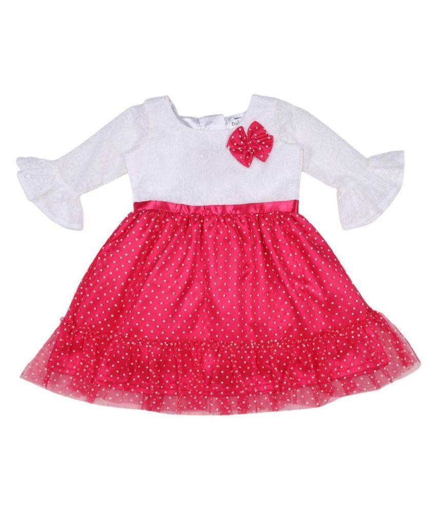 Doodle Pink Color 3/4 Sleeve Flock Dress for Girls