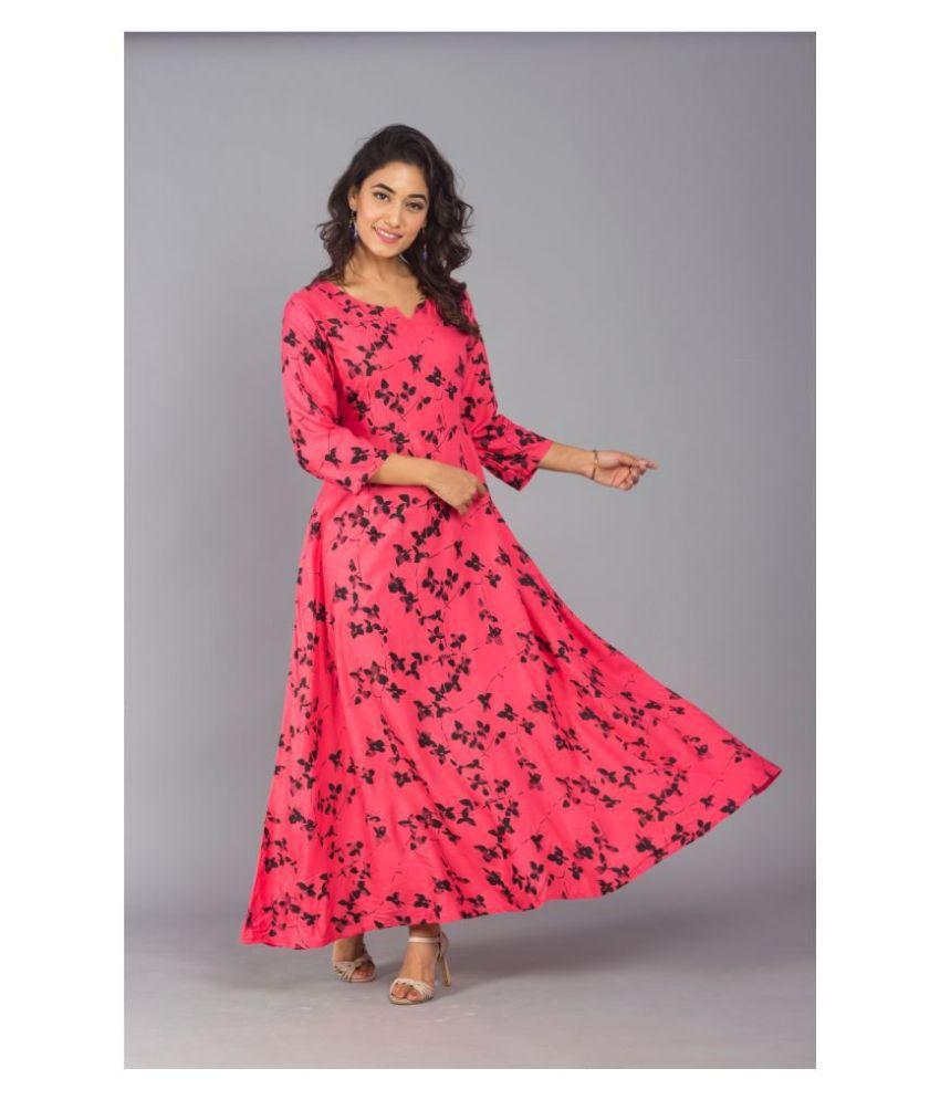 Frionkandy Rayon Pink A- line Dress