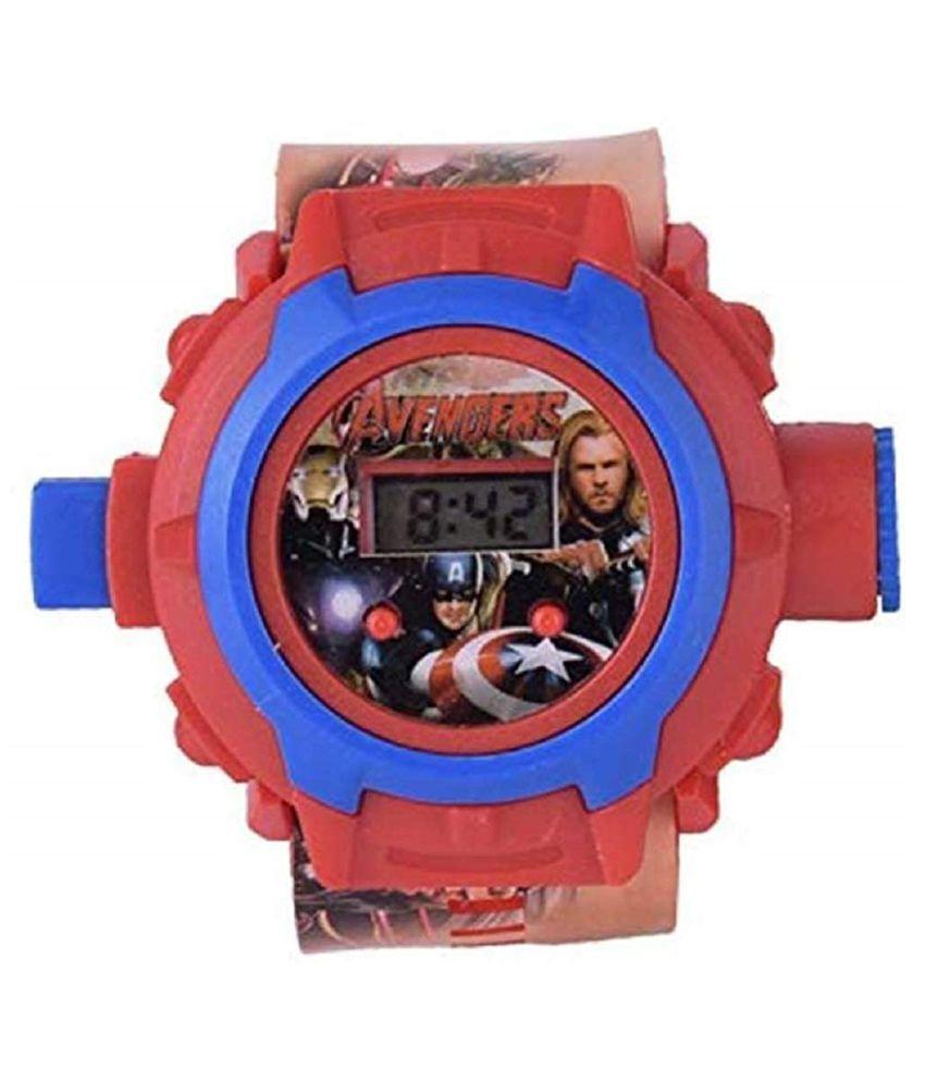 TV MEDIA Avengers Digital Light 24 Images Projector Wrist Led Watch for Kids Boys  amp; Girls