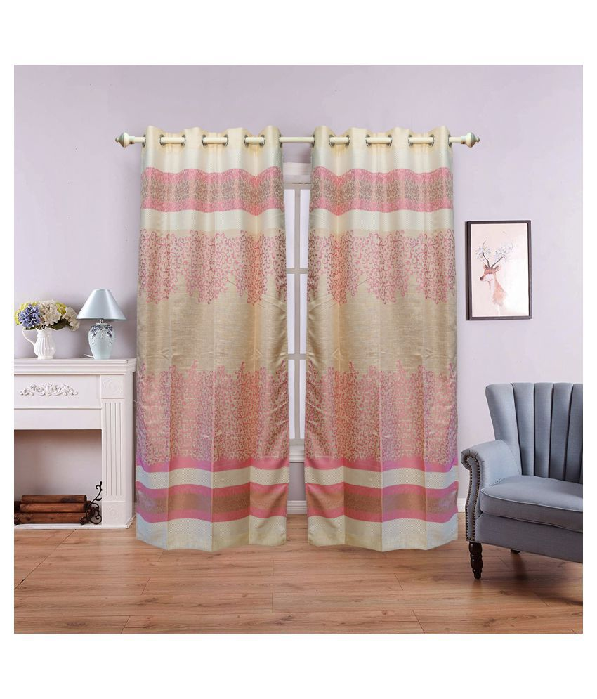gold decor Single Window Semi-Transparent Eyelet Polyester Curtains Cream