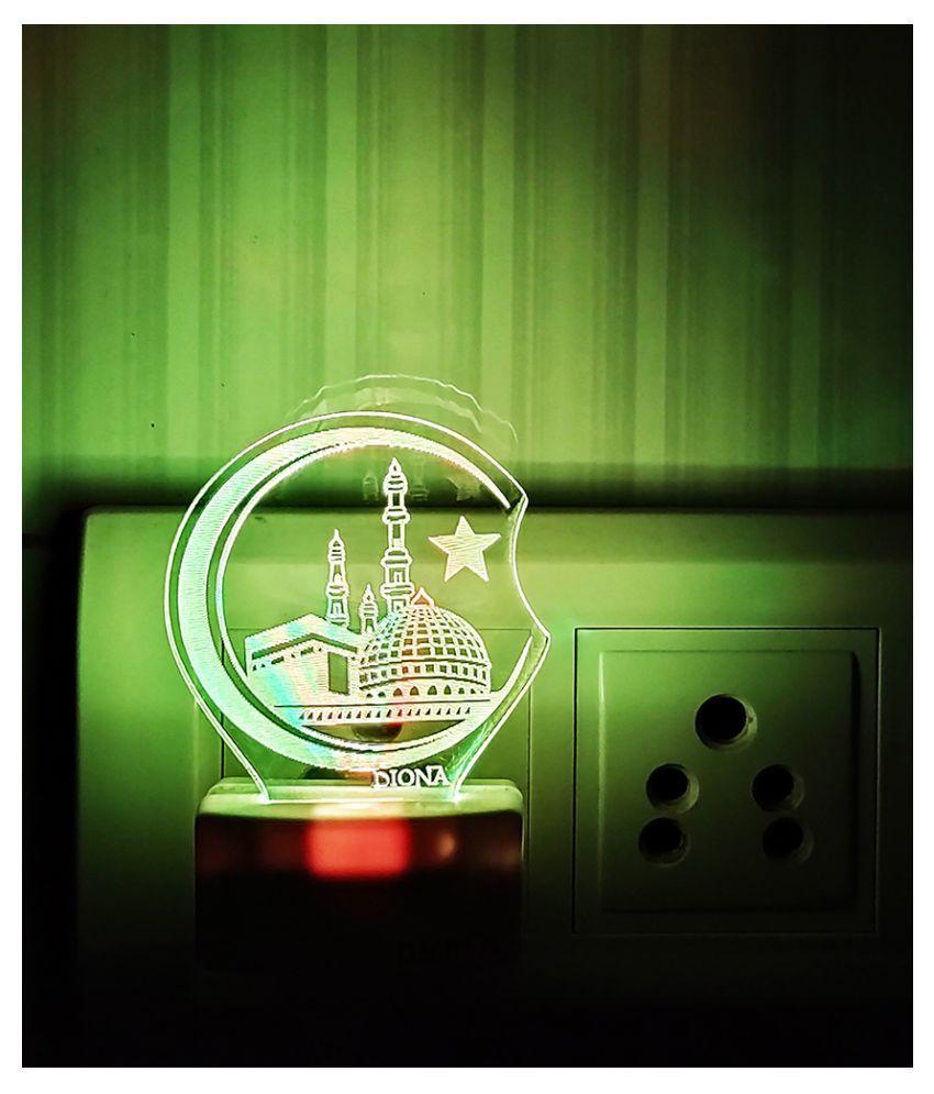 DIONA Mecca Madina  Islam Muslim 3D LED Multi Color Night Lamp Home Decor Night Lamp Multi - Pack of 1