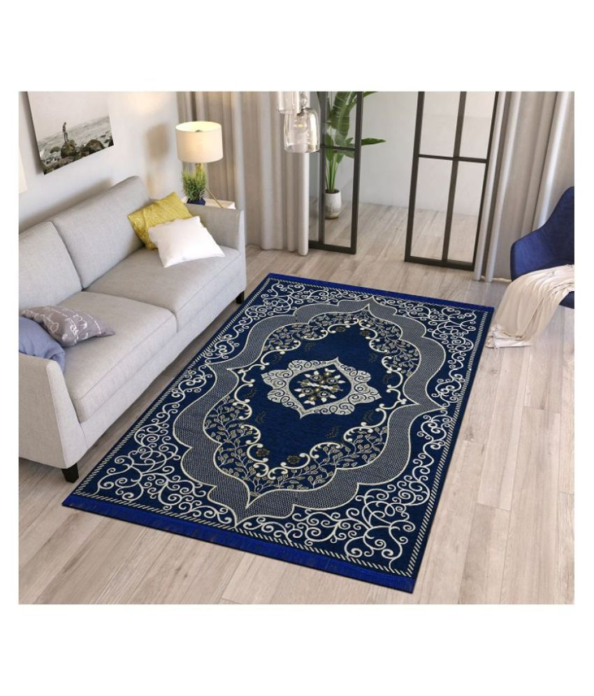 Temoli Navy Velvet Carpet Abstract 5x7 Ft