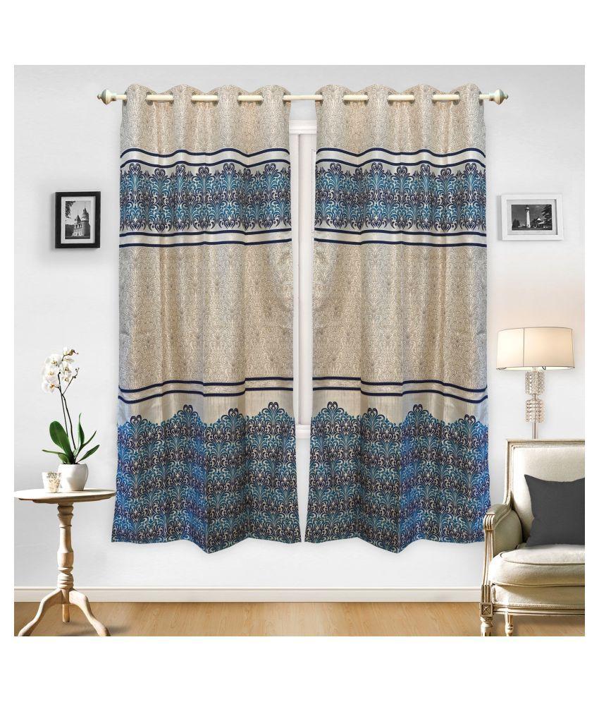 gold decor Single Door Semi-Transparent Eyelet Polyester Curtains Beige