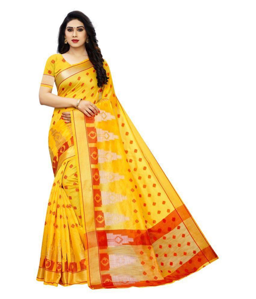 ofline selection Yellow Banarasi Silk Saree