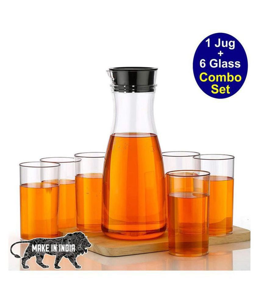 AMAR Unbreakable 1 Water Juice Jug and 6 Pieces Glass Combo Set for Dining Table