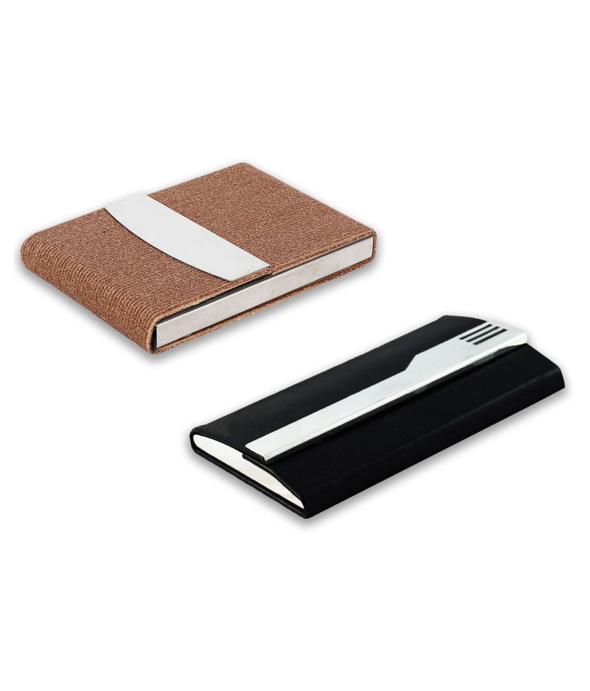 Auteur  4-36 Multicolor Artificial Leather Professional Looking Visiting Card Holders for Men and Women Set of 2 (upto 15 Cards Capacity)