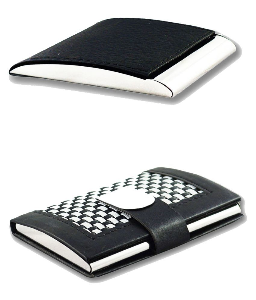 Auteur VCH3-21 Multicolor Artificial Leather Professional Looking Visiting Card Holders for Men and Women Set of 2 (upto 15 Cards Capacity)