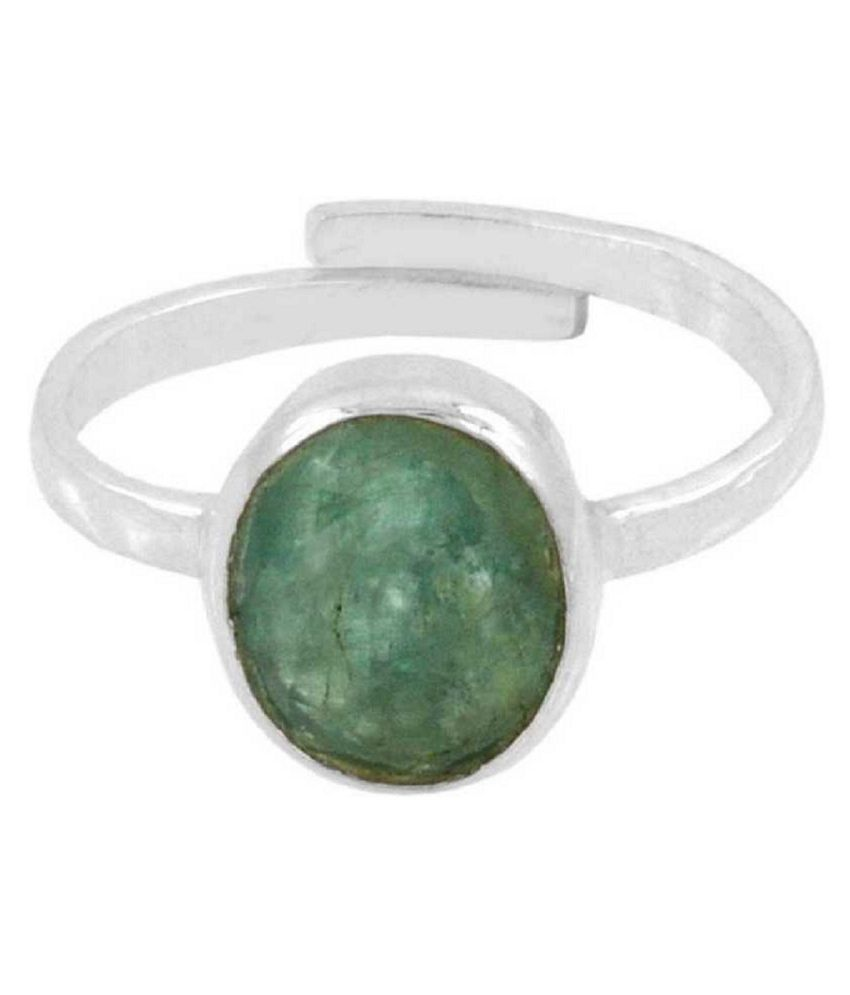 KUNDLI GEMS- Emerald/Panna  Gemstone 6.5 Carat stone silver Finger Ring For Unisex