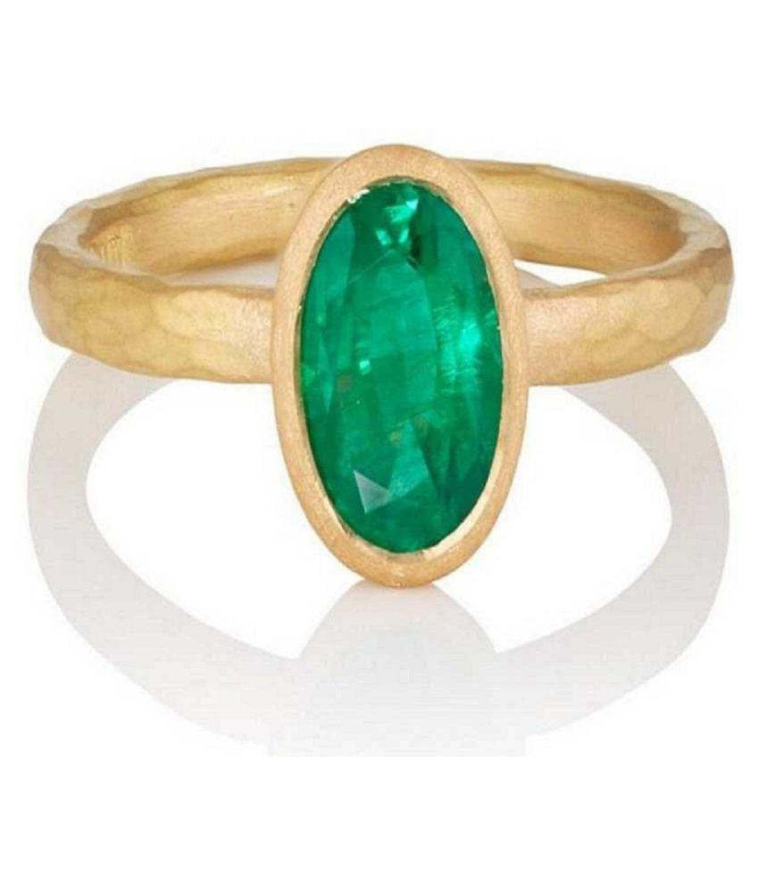 Unheated & Untreated Stone Emerald Gold Plated Ring 6.25 Ratti Precious Stone Panna Ring.