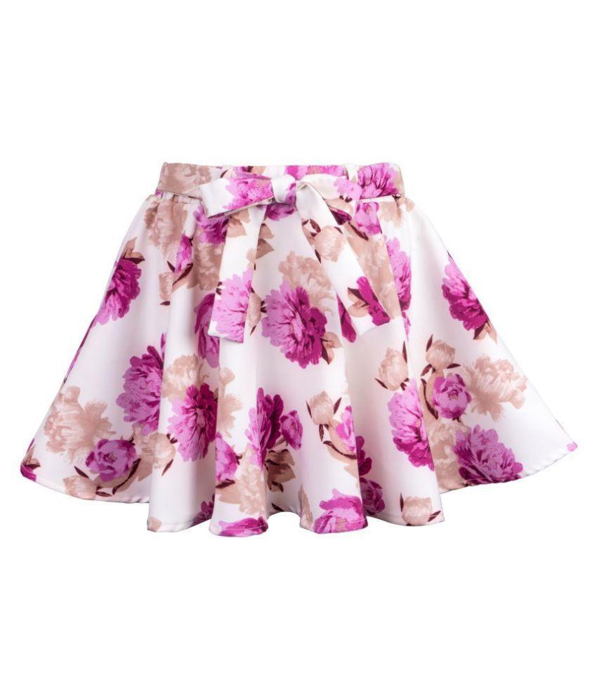Hunny Bunny Girls Purple Floral Print Flared Skirt