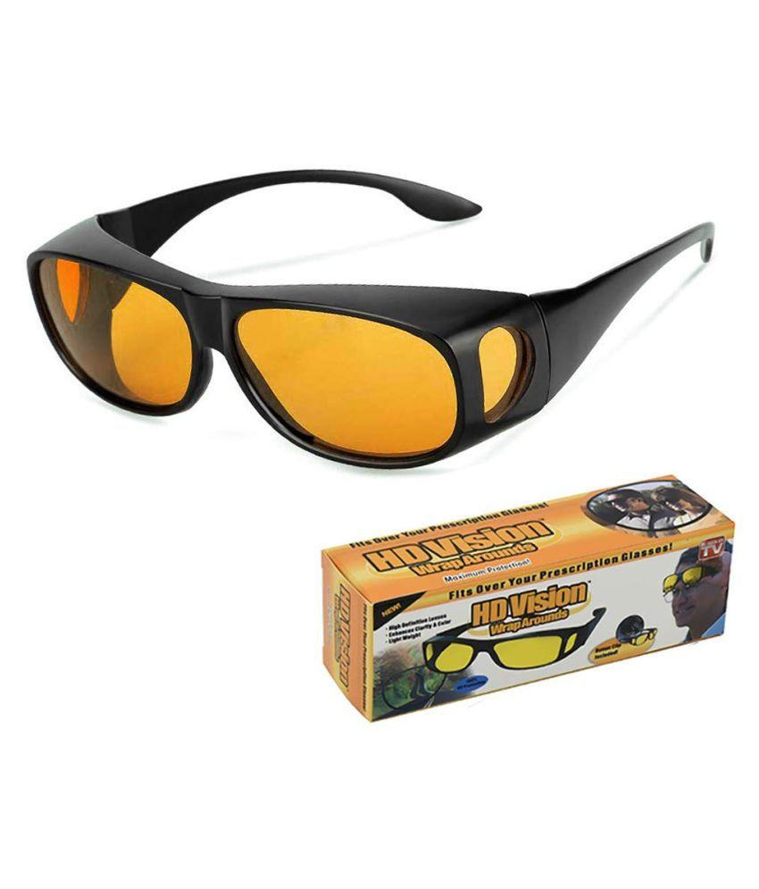 HD Vision Anti Glare Sunglasses Wrap Around Day & Night Driving  (yellow)