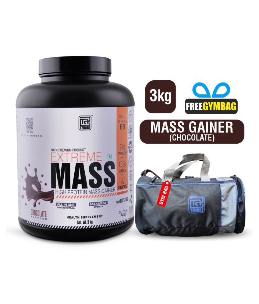 Tenabz Extreme Mass | Muscle Gainer with Gym Bag 3 kg Mass Gainer Powder