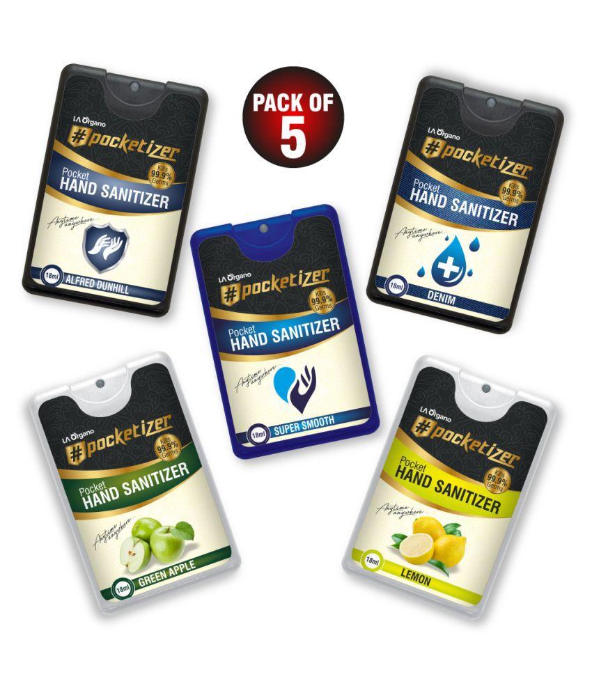 LA ORGANO Pocketizer Hand Sanitizer 18 mL Pack of 5