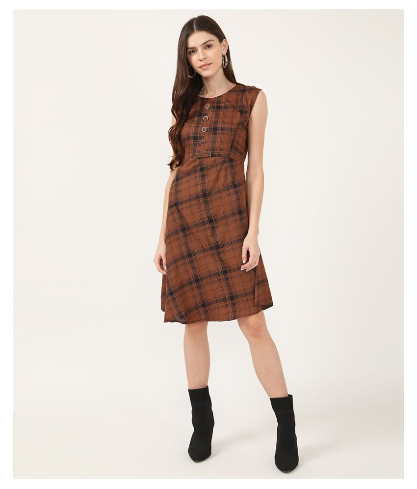 V2 Cotton Brown A- line Dress