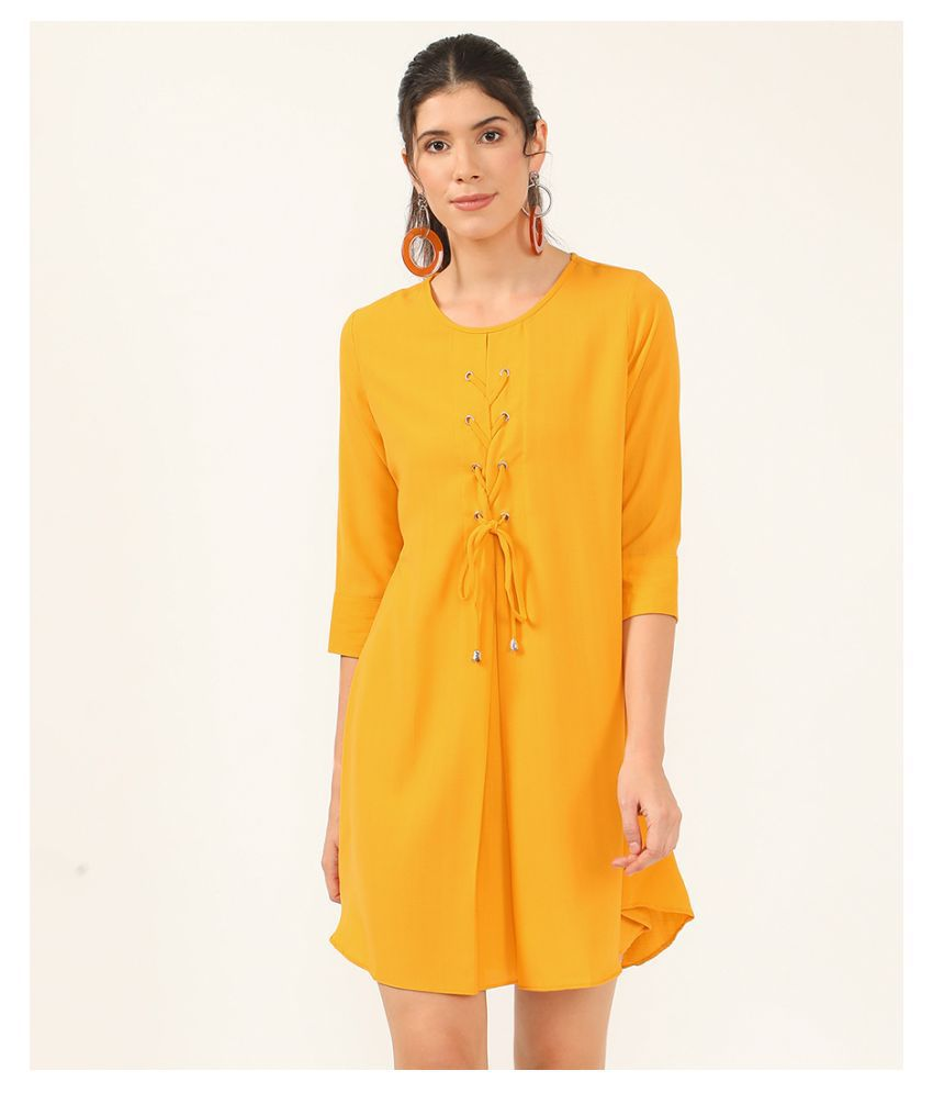 V2 Cotton Yellow A- line Dress