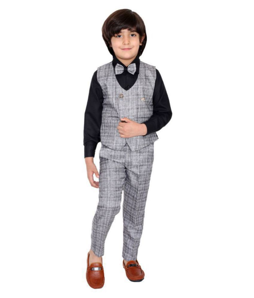 Fourfolds Ethnic Wear 3 Piece Suit Set with Shirt, Trousers and Waistcoat for Kids and Boys_FC035