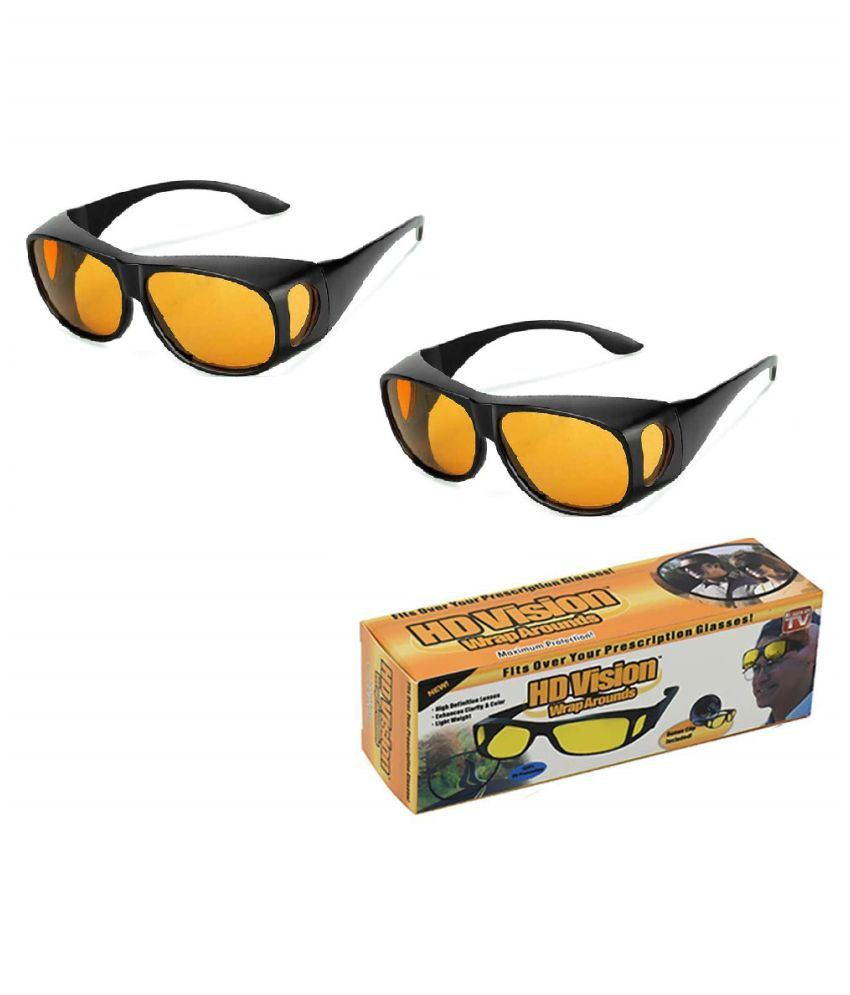 HD Wrap Around Eyewear Stylez Night Vision Glasses For Driving Car Or Bike Uv Protection Hydrophobic Coating (yellow) pack of 2