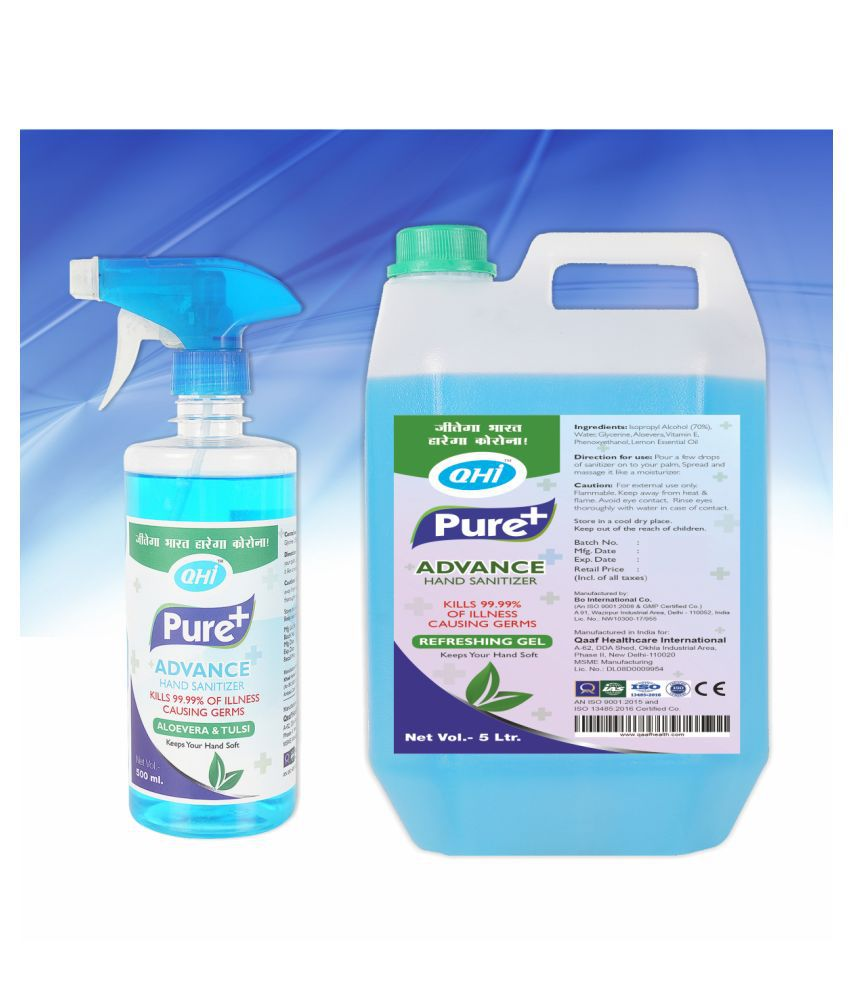 QHI PURE+ ADVANCE HAND SANITIZER- ALOEVERA & TULSI COMBO 5L +.5L Hand Sanitizer 5500 mL Pack of 1