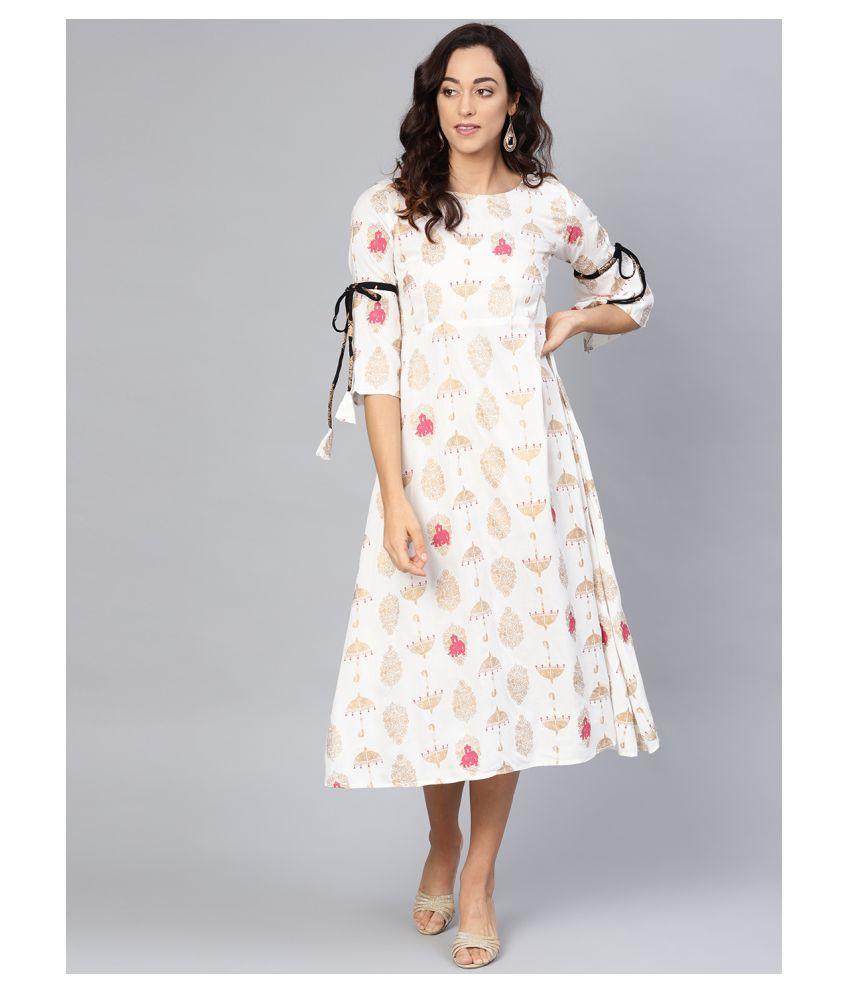myshka Rayon White Regular Dress