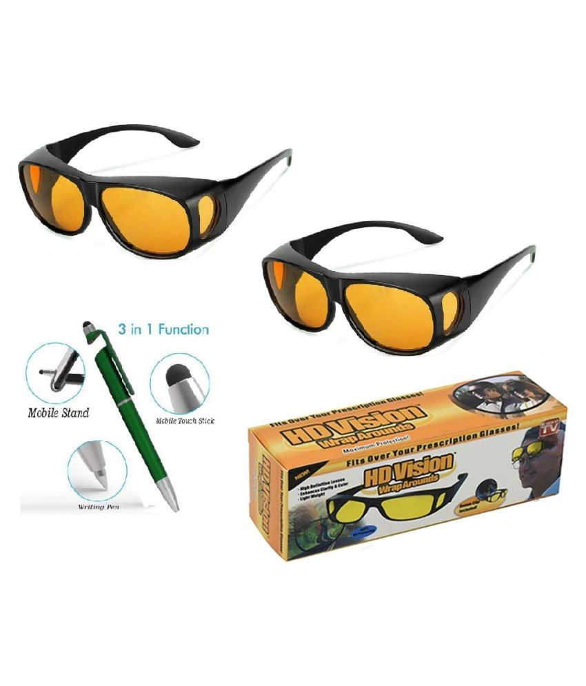 Wrap Around Day and Night HD Vision Goggles Anti-Glare Polarized Unisex Sunglasses (Yellow) Set of 2 With Free 3 in 1 Wipe Pen