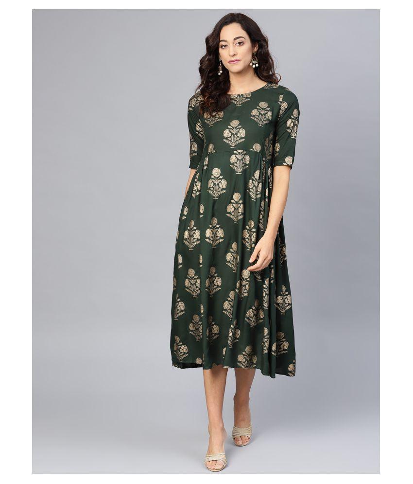 myshka Rayon Green Regular Dress