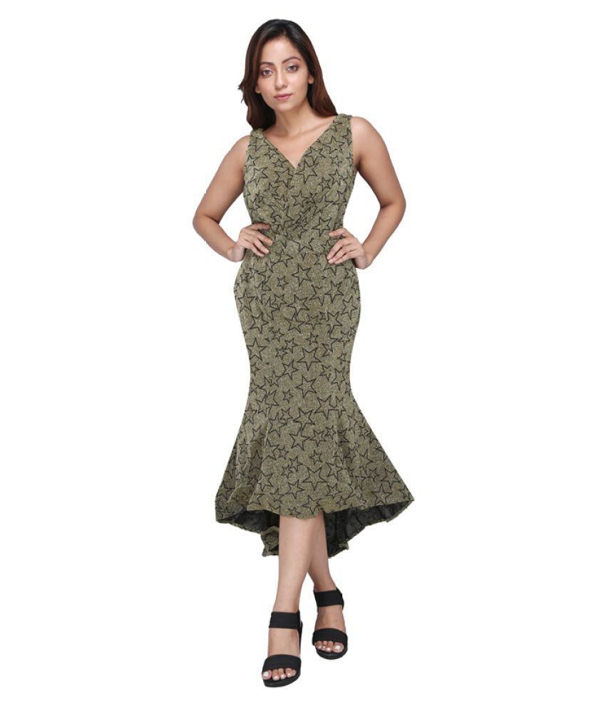 Preety Angel Polyester Green Fit And Flare Dress