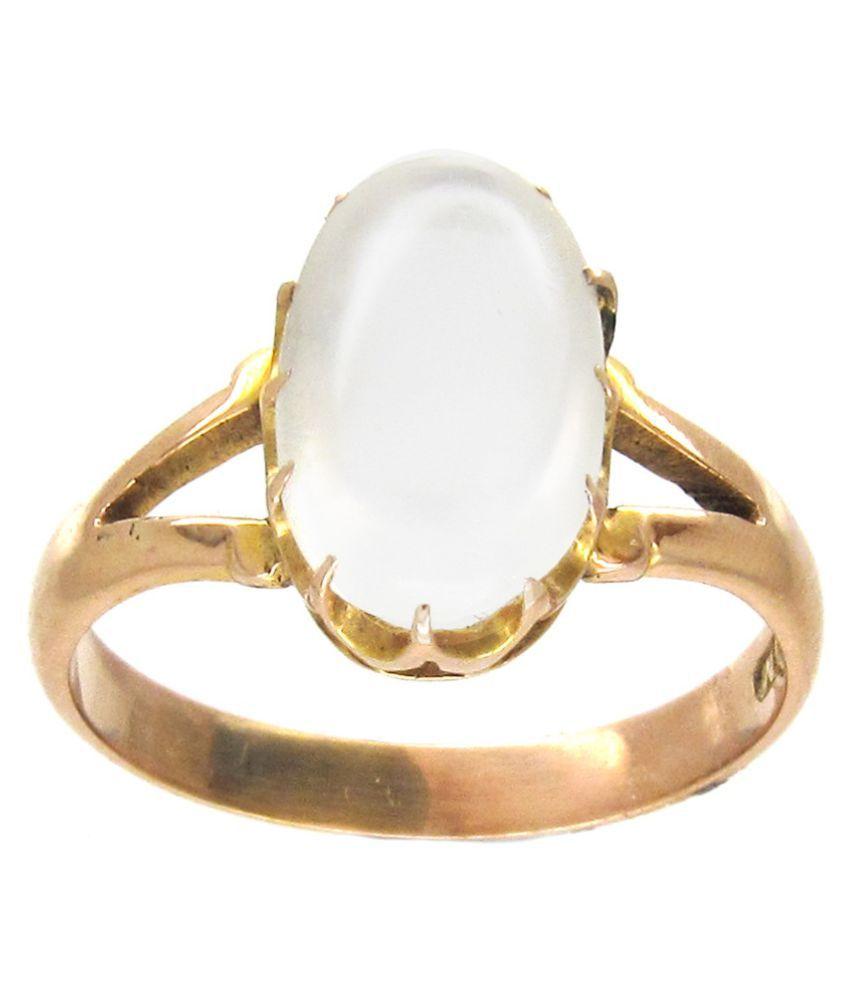 Kundli Gems- Natural & Original Moonstone Ring 6.25 Carat Moonstone Gold Plated Ring
