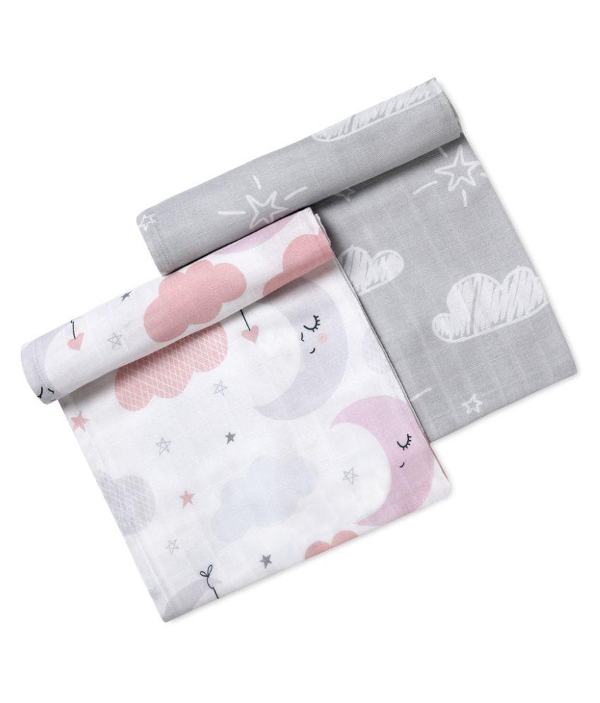 Softsens Multi-Colour Cotton Baby Wrap cum blanket ( 100 cm × 100 cm - 2 pcs)