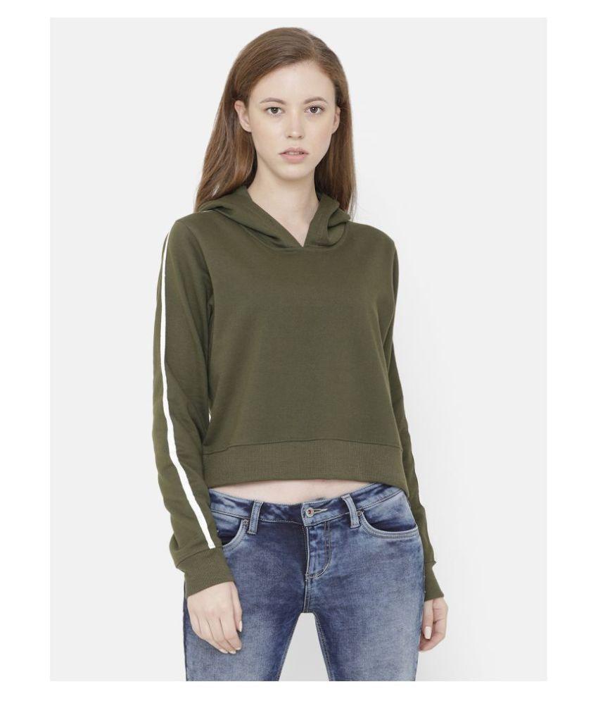 Elegance Cotton Fleece Green Hooded Sweatshirt
