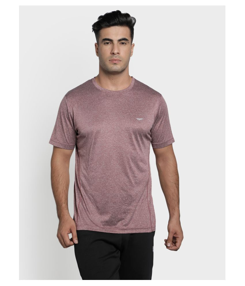 Red Tape Maroon Polyester T-Shirt
