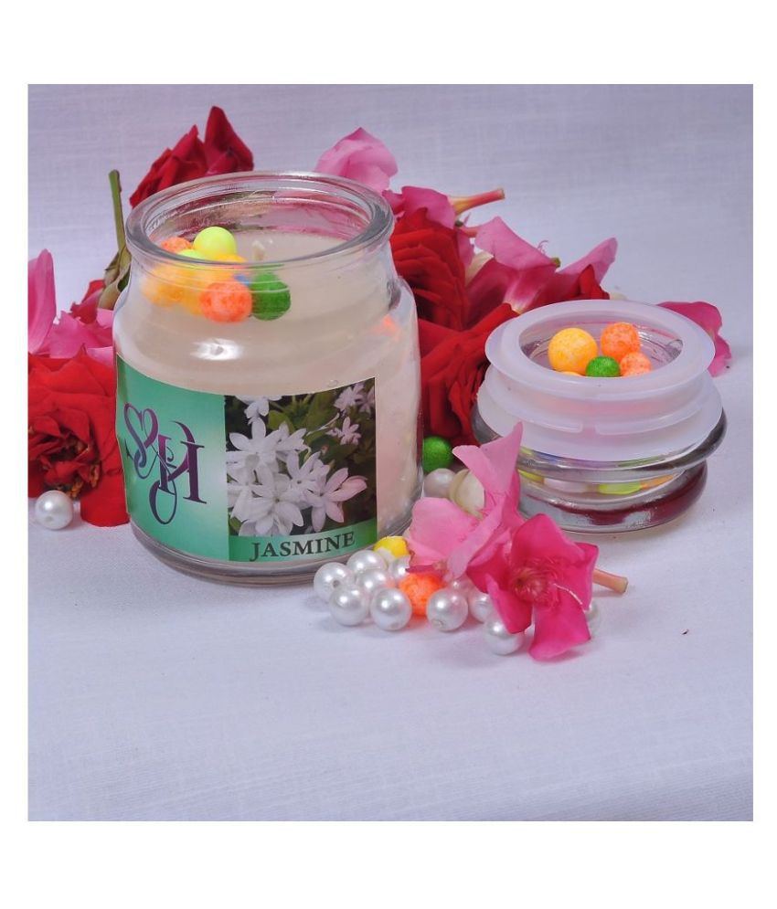 SH DECOR White Jar Candle - Pack of 1