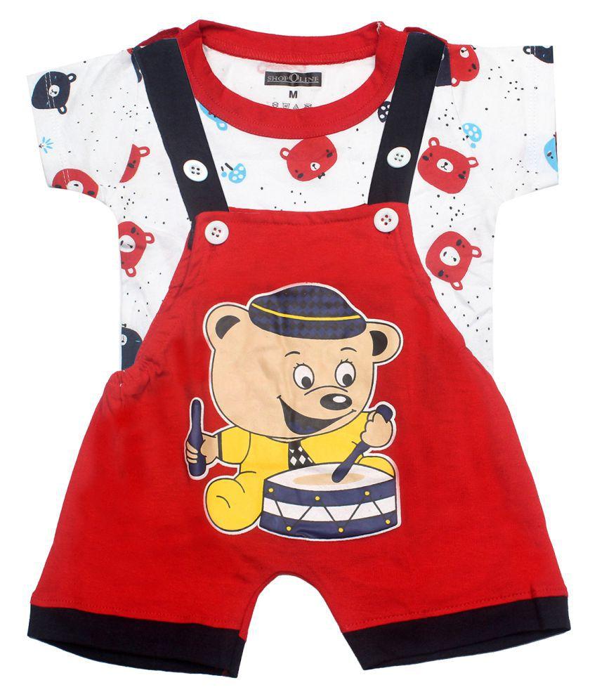 SHOPOLINE Cotton Dungaree For Boys & Girls Kids Clothing