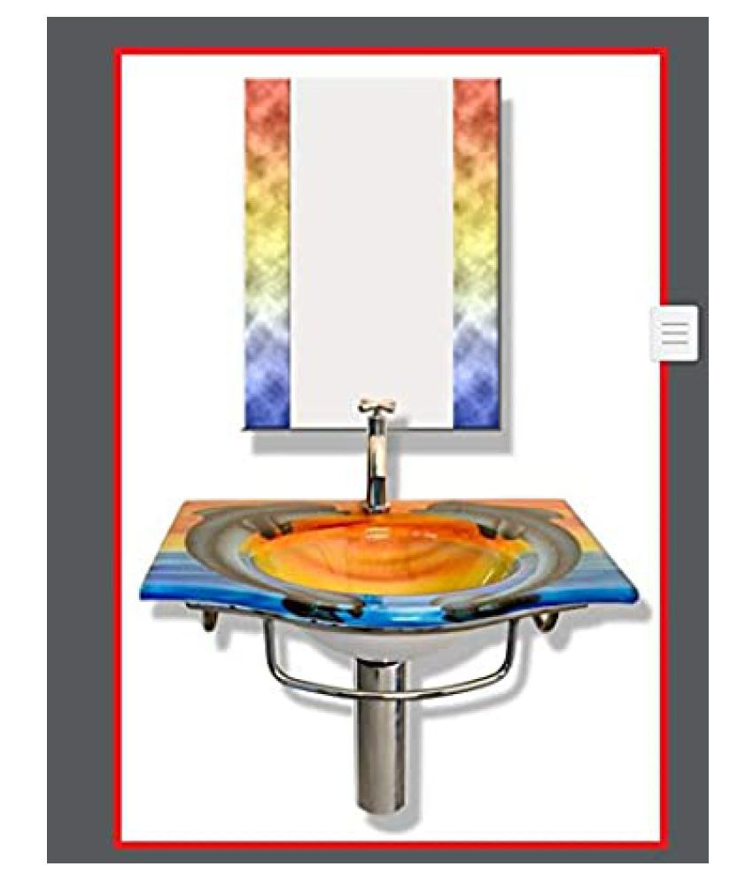 ARVIND SANITARY Multi-Colour Toughened Glass Wall Hung Wash Basins