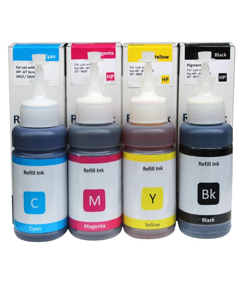Dura Jet HP GT51  amp; GT52 Multicolor Pack of 4 Ink bottle for Refill Ink for HP GT 5810, 5820, 5821, HP Ink Tank 310, 315, 410, 415, 419  C, M, Y, K