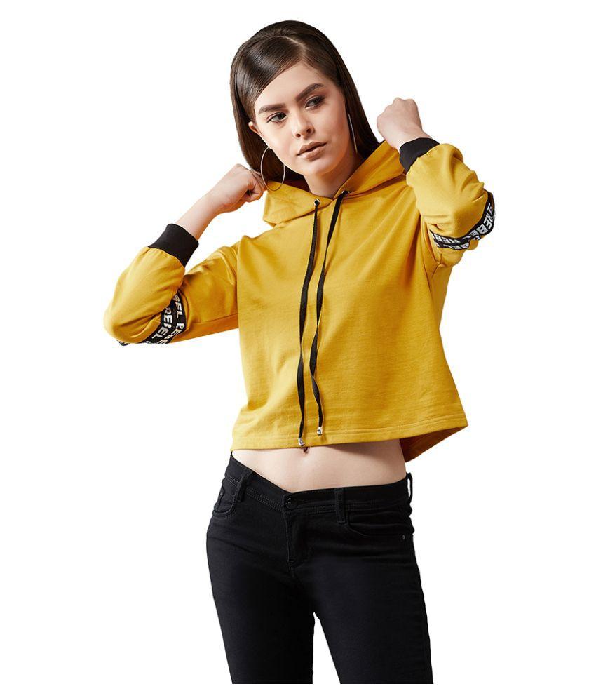 Dolce Crudo Cotton Yellow Hooded Sweatshirt
