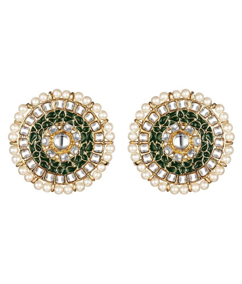 Kord Store Modern Alloy Gold Plated Meena Work Chand Shape Stud Earring For Women & Girls