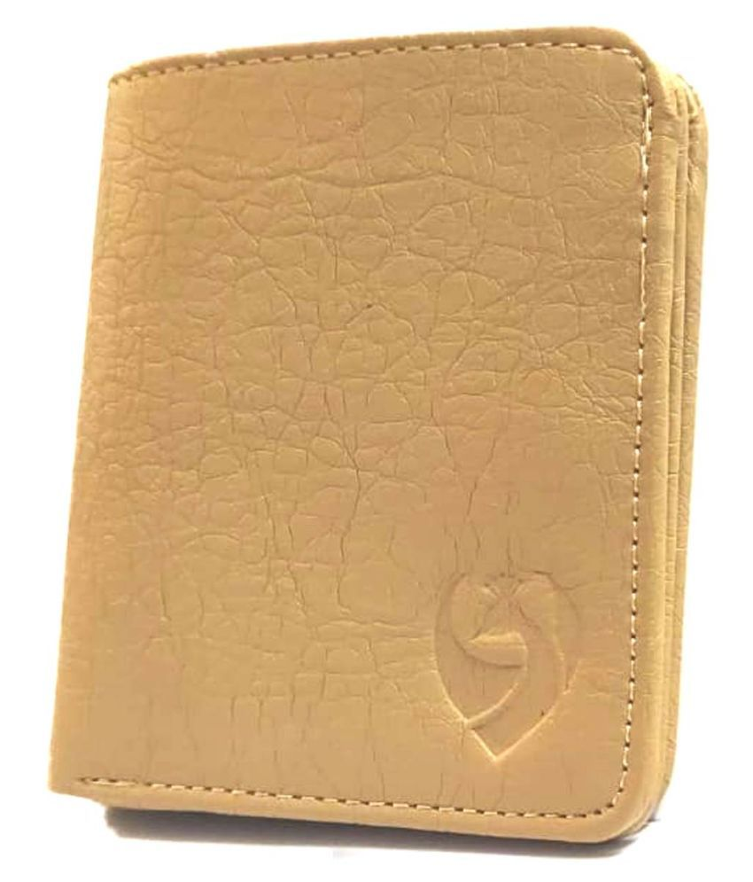 Kkrish PU Tan Formal Regular Wallet