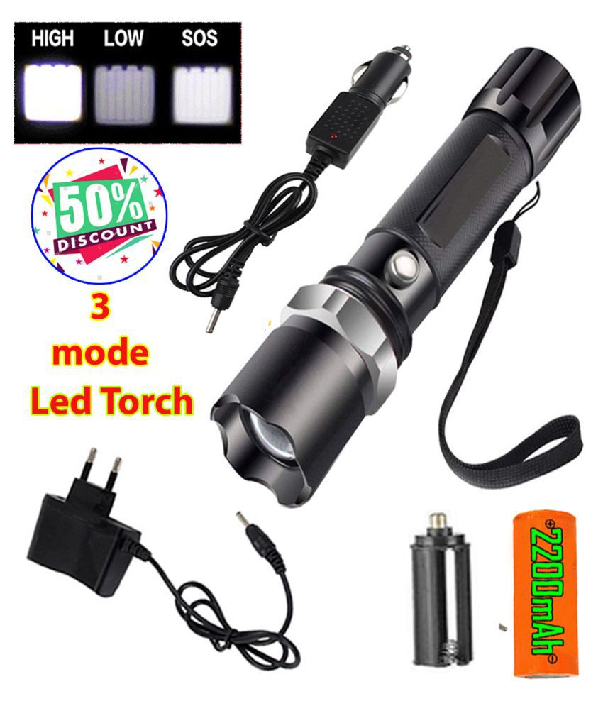 SM Rechargeable 600 meter range SWAT LED 3 Modes Zoombel Flashlight Torch 13 W 13W Flashlight Torch x - Pack of 1