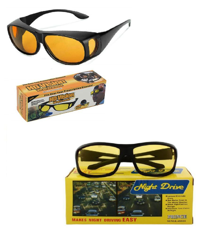 HD Wrap Around Eyewear Stylez & Night Vision Glasses For Driving Car Or Bike Uv Protection Hydrophobic Coating (yellow)  Pack Of 2