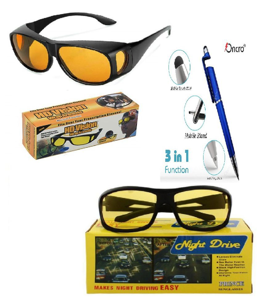 HD Wrap and Night Vision Trendmi Nightdrive Easy Wrap Around Anti-Glare Polarized Lens Unisex Sunglass for All Bikes Car Drivers (Yellow) With 3 in 1 pen Set of 2