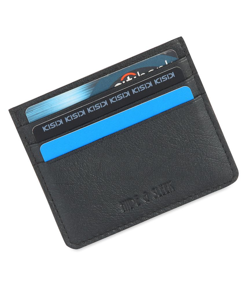 Hide amp;Sleek Black Genuine Leather 6 Card Holder