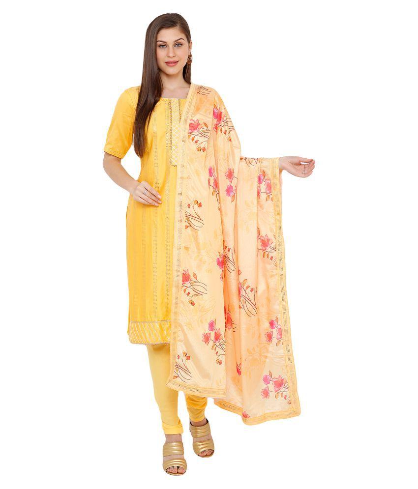 Salwar Studio Cotton Silk Kurti With Churidar - Stitched Suit