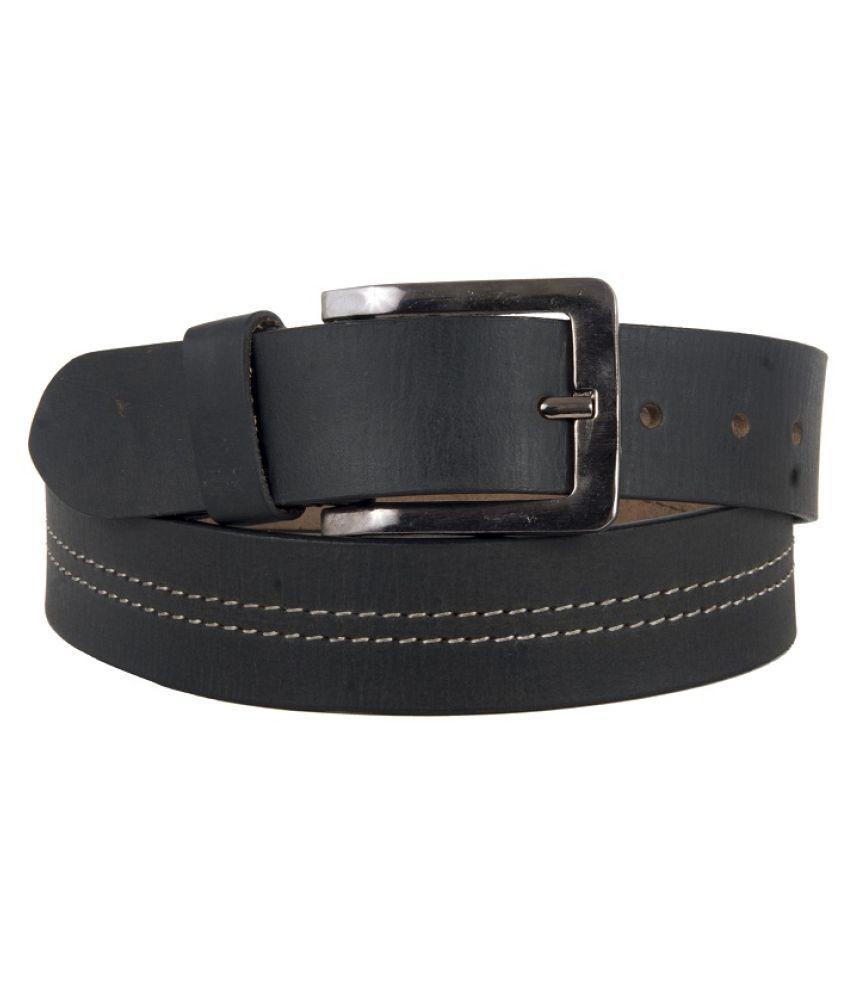 U+N Black Leather Casual Belt