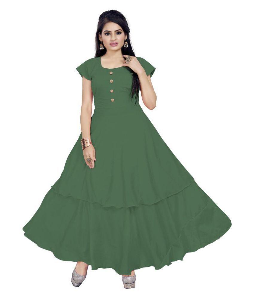 ARYAN ENTERPRISE Polyester Green A- line Dress