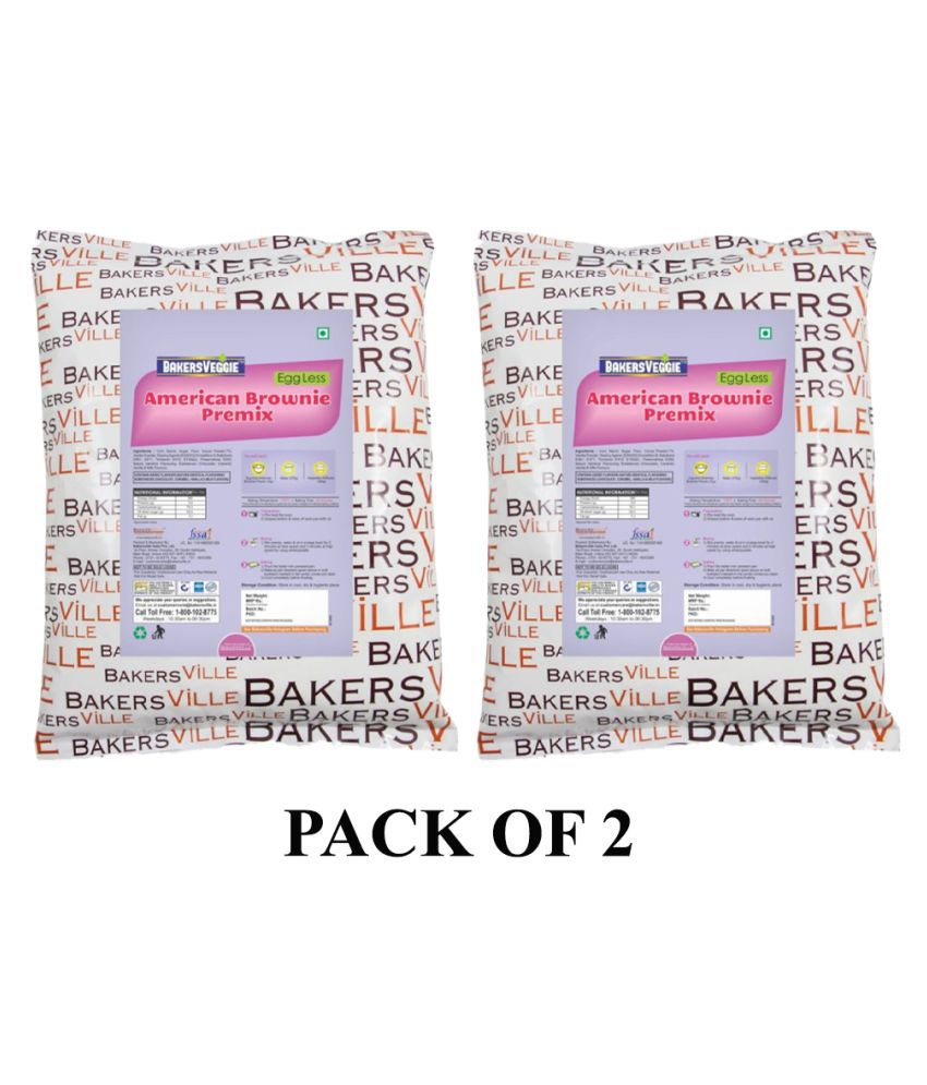 Bakersveggie American Brownie Cake Premix  cake mix 1 kg Pack of 2