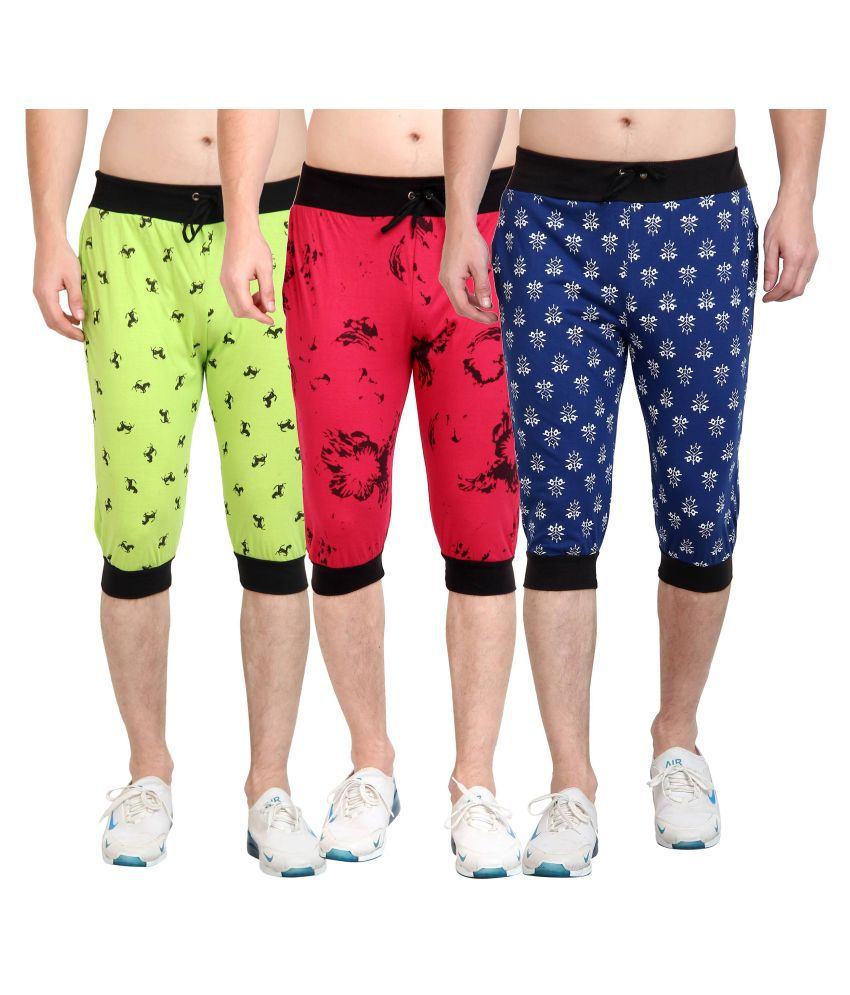 Diaz Multi Cotton Fitness Shorts Pack of 3
