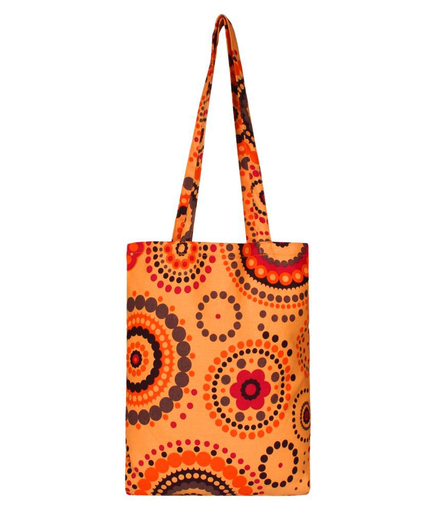Anekaant Orange Canvas Shoulder Bag