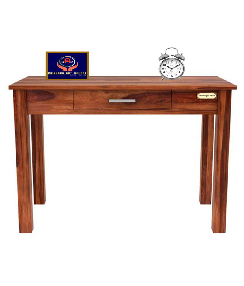 KAP Solid Sheesham Wood Study and Writing Tables for Offices and Home with 1 Drawer Natural Brown Finish